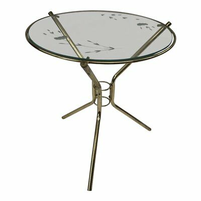 Vintage GOLD SIDE TABLE Hollywood Regency brass glass top round mid century 60s