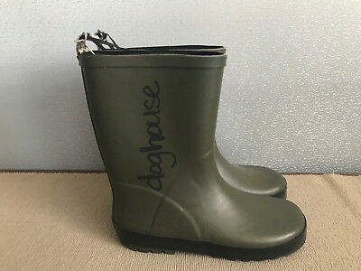 BNWT Older Boys Size 6 Rivers Doghouse Brand Khaki Green with black Gumboots
