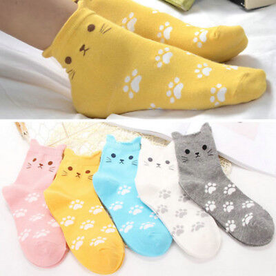Women Fashion Cartoon Cat Footprints Pattern Casual Socks Cotton Tube Sock 1Pair