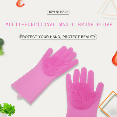 1 Pair Magic Silicone Cleaning Brush Scrubber Gloves Heat Resistant Scrub Glove