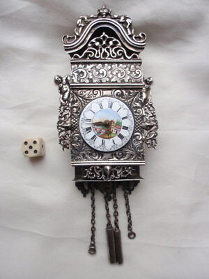 ANTIQUE DUTCH 208 gr SILVER MINIATURE WALL CLOCK HALLMARKED  J. VERHOOGT ca1905