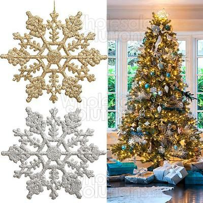 Christmas Glitter Snowflakes Decorations Xmas Tree Hanging Ornaments Gold Silver
