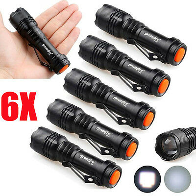 6X Mini Q5 7W 8000Lm Adjustable LED Flashlight Torch Lamp LOT Zoom Light MT