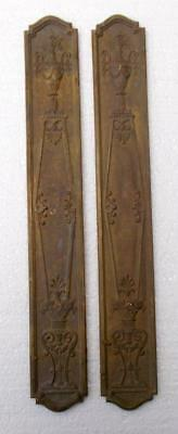 Pair of Stylish Antique French Bronze Door Finger Push Plates #C2