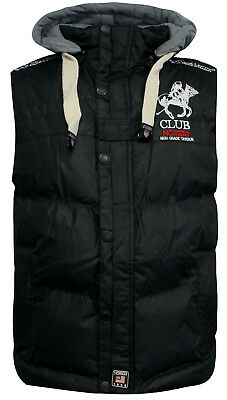Geographical Norway Hooded Mens Padded Gilet Bodywarmer Vest Black WL178HGN WH/A