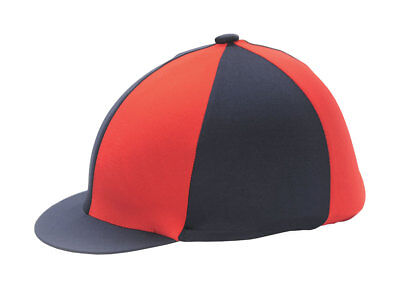 Red & Navy Blue Riding Hat Silk Cover For Jockey Skull Caps One Size
