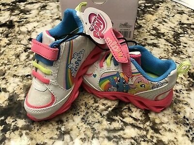 My Little Pony Toddler Girls' White Pink Aqua Athletic Sneakers Size 7