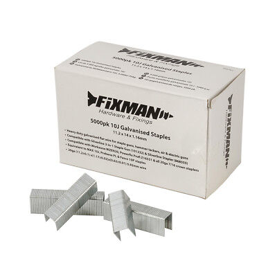 Fixman 455701 10J Galvanised Staples 5000pk 11.2 x 14 x 1.17mm