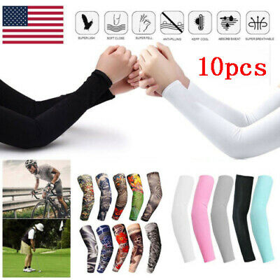 10Pc Tattoo Cooling Arm Sleeves Cover UV Sun Protection Basketball Outdoor Sport