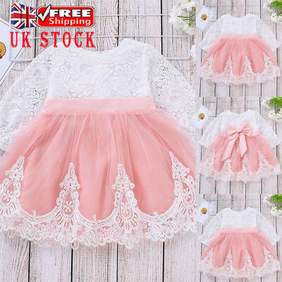UK Kids Baby Girls Lace Tulle Bowknot Princess Dress Formal Party Skater Dresses