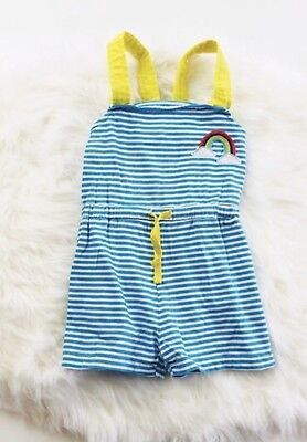 mini boden girls size 6- 7 Romper Rainbow Aqua White Stripes Drawstring ADORABLE