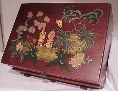 Vintage Antique Hand Painted Asian Scene Flatware Storage Chest W/drawer
