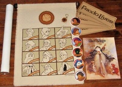 BIG LOT Lord of the Rings movie '78 vtg Banner Buttons Keychain Program Stickers