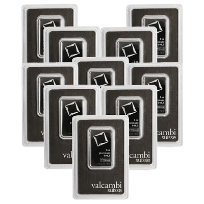 Lot of 10 - 1 Troy oz Valcambi Suisse .9995 Fine Platinum Bar Sealed In Assay