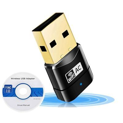 600Mbps Dual Band 802.11ac 2.4GHz 5GHz PC WiFi USB Adapter Network LAN Dongle YV