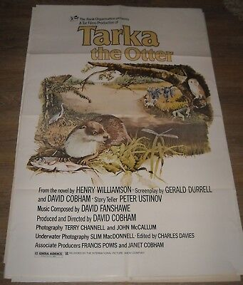1970's TARKA the OTTER 1 SHEET MOVIE POSTER BEAUTIFUL PAINTED ART NATURE STORY