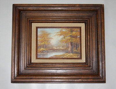 Vintage Framed Original Oil Painting of Fall Landscape Williams