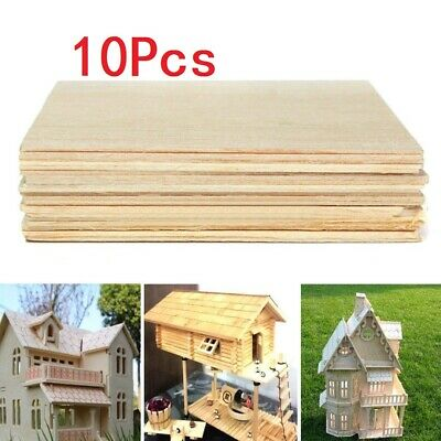 Balsa Wood Sheets Wooden Plate 100*100*1mm For House Ship Craft Model DIY 20pcs~