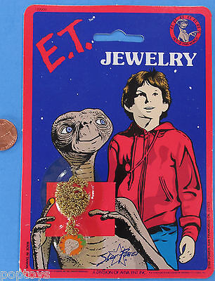 ET the Extra Terrestrial NECKLACE / PENDANT '82 vintage MOC E.T. Flowers/Leaves