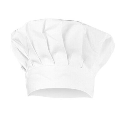 Elastic White Cotton Chef Hat BBQ Kitchen Baking Cooking Cap For Adults Children