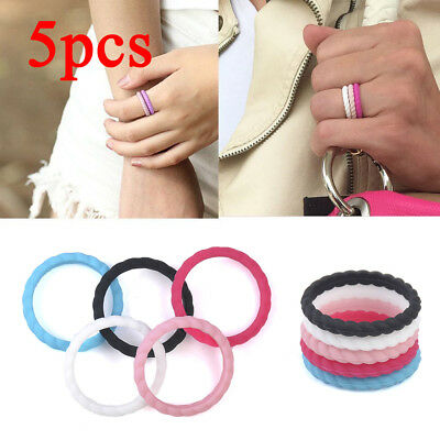 5pcs/set Silicone Rubber Wedding Band Engagement Ring Mens Womens Jewelry