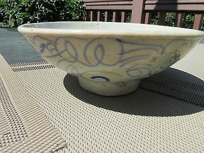 Antique China export early bowl stoneware pottery hand painted blue celedron