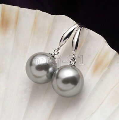 Fashion 12mm Natural Gray South Sea Shell Pearl Sterling Silver Hook Earrings