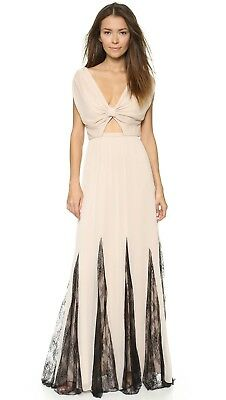 dc09895746a ALICE + OLIVIA Maxi Gown 8 Sexy Lamb Leather Shoulder Trim Black NWT ...