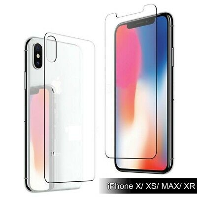 For iPhone X/XS/MAX/XR 9H Tempered Glass [Front+Back] Full Body Screen Protector