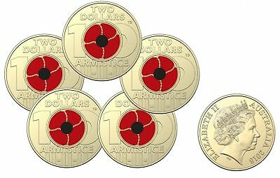 2018 Coloured $2 Remembrance Day Armistice Sachet of 5 Coins Red Poppy Coins