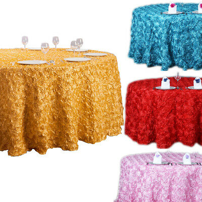 47''/120'' 3D Rosette Satin Tablecloth Round Rose Pattern Wedding Table Cover D
