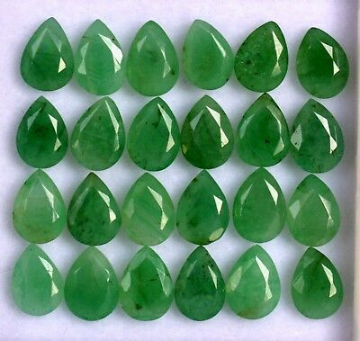 Certified Natural Emerald Pear Cut 7x5 mm Lot 10 Pcs Untreated Loose Gemstones
