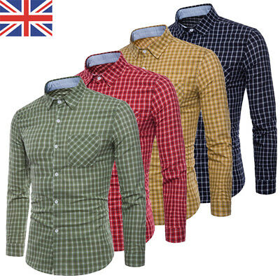 2018 UK Luxury Mens Slim Fit Shirt Long Sleeve Checked Formal Casual Tops Shirts