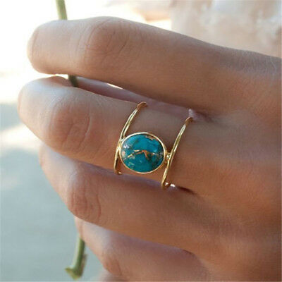 Women 18K Gold Filled Huge Turquoise Wedding Anniversary Ring Gift Size 6-10