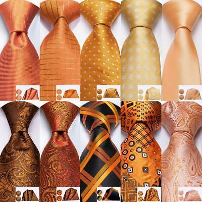 Orange Paisley Solid Novelty Men's Tie Jacquard Woven Silk Necktie set Wedding