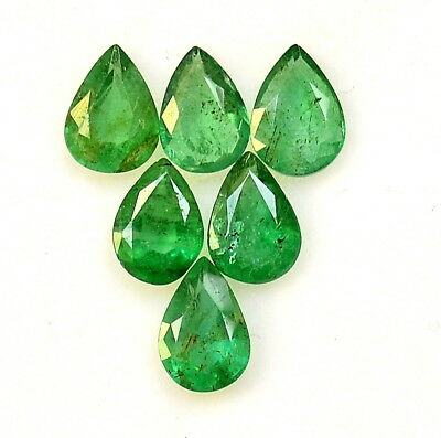 Certified Natural Emerald Pear Cut 7x5 mm Lot 06 Pcs 3.04 Cts Loose Gemstones