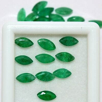 2.25 Cts Natural Emerald Marquise Cut 6x3 mm Lot 10 Pcs Untreated Loose Gemstone