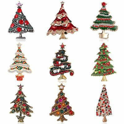 Merry Christmas Tree Crystal Brooch Pin Xmas Party Jewellery Gifts Broach Badge