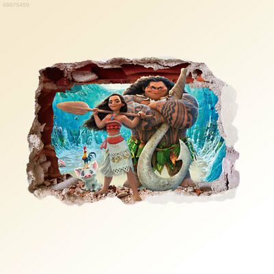 01EB Moana 3D Cartoon Waterproof Wall Stickers Bedroom Living Room Art Kids