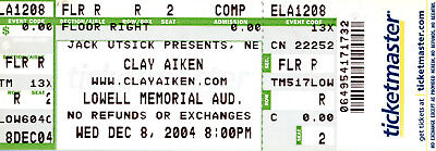 Clay Aiken 2004 Lowell, MA Unused Concert Ticket American Idol