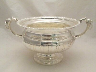 Small Silver Plated Wine Cooler / Punch Bowl with Lion Handles