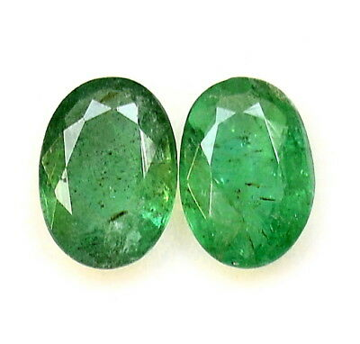 1.65 Cts Certified Natural Emerald Oval Cut Pair 7x5 mm Zambia Loose Gemstones