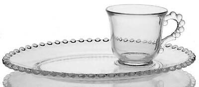Imperial Glass Ohio CANDLEWICK CLEAR (STEM #3400) Oval Snack Plate & Cup 237136