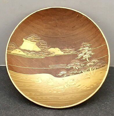 Japanese Meiji Boxwood Lacquered Cup, Signed