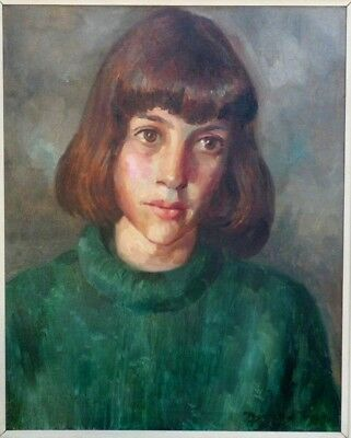 DONALD PASS - Oil on Canvas-  Portrait of a Wistful Young Woman - 1960`s.