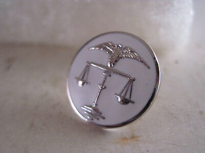 Scales of Justice   logo  lapel pin    white silvertone