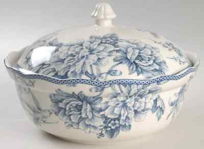 222 Fifth ADELAIDE-BLUE & WHITE Round Covered Vegetable Bowl 9018661