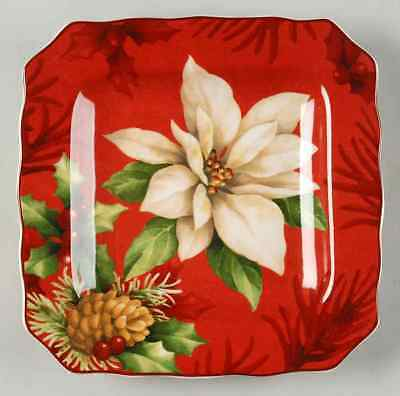 222 Fifth POINSETTIA HOLLY Square Salad Plate 7740195