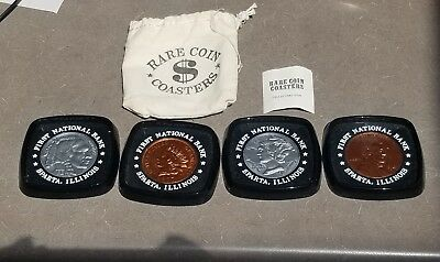 Set of 4 Rare Coin Coasters Set In Carrying Bag First National Bank Sparta IL