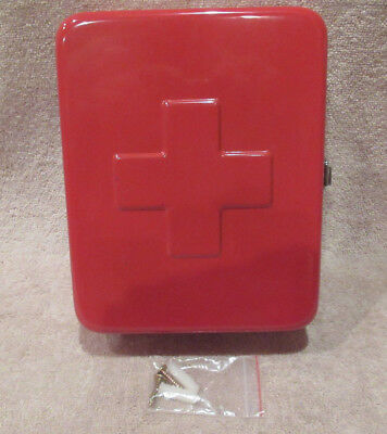 First Aid Kit Empty Metal Storage Box Home Health Wall Mount Decor Bandage Red